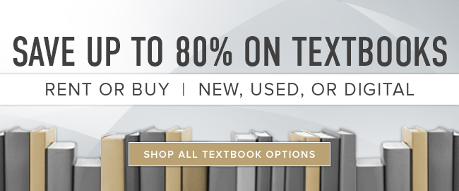 Picture of textbooks. Save up to 80n textbooks. Rent or buy new, used, digital. Click to shop all textbook options.